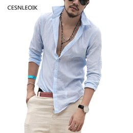 Sexy Army Shirts Australia - Plus Size Shirts Cotton Linen Men Shirt Long Sleeve Summer Style Hawaiian Shirts Sexy Slim Fit Men Clothes New Arrival C01 Y19050703
