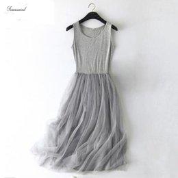 White lace tunic dress online shopping - 2019 Lace Dress Spring Sleeveless Sling Gauze Women Modal Tunic Basic Long Dresses Mesh Gray Sexy Dress