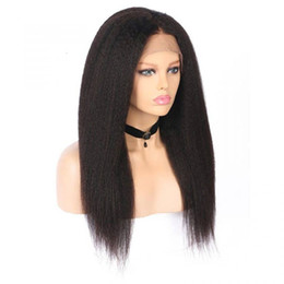 italian yaki human hair wigs UK - Full Lace Human Hair Wigs Kinky Straight Bleached Knots Free Part Virgin Malaysian Glueless Italian Yaki Lace Front Wig Pre Plucked Hairline