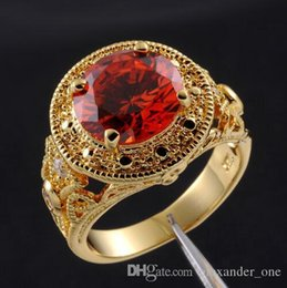 Crafting Gems Australia - 18K Yellow Gold Filled Round Redy gem Sapphire CZ Simulated Diamond Carving Craft Ring for Men