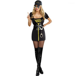 short dress costumes Australia - Casual Appparel Womens Halloween Designer Police Theme Costume Dresses Sexy Style Cospaly Fashion Crew Neck Short Sleeve