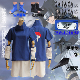 Adult Anime Games Australia - 2019 Naruto Uchiha Sasuke Cosplay Costume Anime Cosplay Adult Costume Suit Top+Short High Quality Spot Fast Shipping