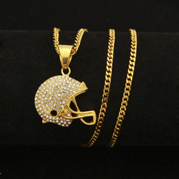 $enCountryForm.capitalKeyWord Australia - New Fashion Stainless Steel Gold Plated Bling Diamond Motorcycle Helmet Pendant Mens Necklace Hip Hop Raper Jewelry Gifts for Men for Sale