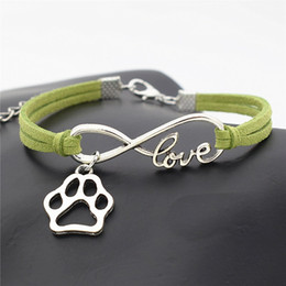 $enCountryForm.capitalKeyWord Australia - Infinity Love Pet Footprint Cats Dog Paw Charm Bracelets Casual Fashion Braided Green Leather Suede Cuff Bangles For Women Men Jewelry Gifts