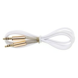 speaker covering UK - 3.5mm Jack Stereo 1m 3.3ft Audio Cable Male to Male Aux Cable Wire Cord with 2 side Spring Protective protection Cover New 300pcs