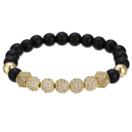diamond party strands UK - natural stone bracelet jewelry natural black frosted copper beads bracelet inlaid diamond ball white diamond bracelet jewelry