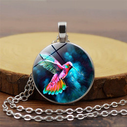 Blue Gemstone Pendant Wholesale Australia - 2019 new fashion pendant necklace blue hummingbird time gemstone necklace European and American popular pendant necklace long sweater chain