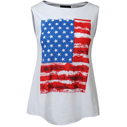 leopard print v neck shirt UK - summer women 4th July tank top white flag print tank shirts sleeveless o-neck lady independent day t-shirts
