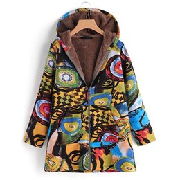 014819bb4ed27 2018 Winter Women Hooded Coats Print Jackets Zipper Faux Fluffy Jackets  Womens Long Sleeve Outerwear Chaqueta Femme Plus Size