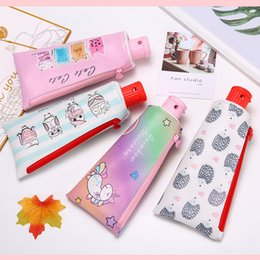 $enCountryForm.capitalKeyWord Australia - Fun Student Pencil Case Back To School Cartoon Unicorn Cat Hedgehog Pencil Case Pencil Sharpener Large Capacity Storage Bag Student Gifts