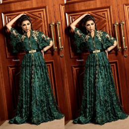 green fall dresses NZ - 2020 Dubai Arabic Dark Green Formal Evening Dresses with Long Sleeve Muslim Kaftan Abaya 3D Floral Lace Occasion Prom Gown