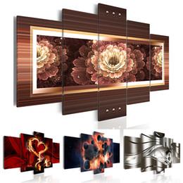 metal painting art abstract NZ - 5PCS Set Flower Burning Heart Space Planet Abstract Metal Wave Art Print Frameless Canvas Painting Wall Picture Home Decoration No Frame