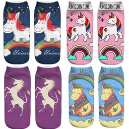 patterned socks for men 2020 - 3D Printed Unicorn Socks Unicorn Pattern Ankle Socks for Men Women Teenager Low Cartoon Cute Ankle Sock Funny Ankle Cott