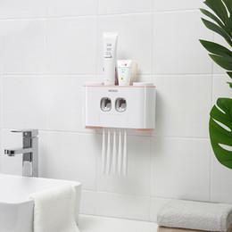 Otomatik Diş Macunu Dispenser Yıkama Set Diş Macunu Sıkacağı Diş Fırçası Tutucu Kupası Duvara Montaj Banyo Set Banyo Aksesuarları D19011701