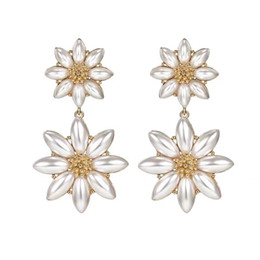 Earrings For Summer Australia - Japanese Korean Summer New Design Simulated Pearl Flower Drop Earrings For Women Trendy Jewelry Party Vacation Pendientes