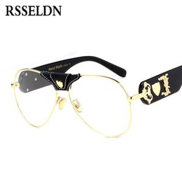 Printed sPectacles online shopping - RSSELDN Cool Oversized Clear Lens Glasses Frame Women Brand Designer Male Spectacle Frames For Men Gold Eyewear Vintage