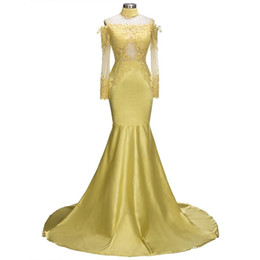 Golden Mermaid Gown Australia - Elegant Golden Mermaid Prom Dresses Off Shoulder Lace Long Sleeves Appliques Princess Evening Gowns Wear For Girls 187
