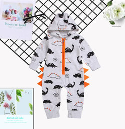 baby clothes factories UK - NEW BABY BODYSUIT LONG SLEEVE full print dinosaur hooded bodysuit climbing clothes spring and autumn children's casual hardcover factory di