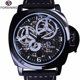 luxury brown leather watch Australia - Forsining Brown Genuine Leather Military Pilot Series Men Creative Sport Watches Top Brand Luxury Automatic Skeleton Wristwatch SLZe58