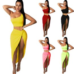Wholesale two piece crop top and skirt resale online – Women Summer Bodycon Two Piece Crop Top and Club Party Cocktail Skirt Set