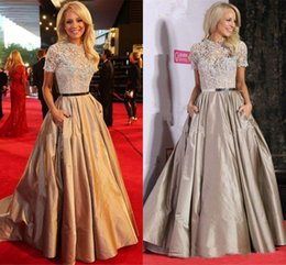 Orange chic online shopping - Elegant Lace Evening Dresses with Pocket Long Celebrity Chic Party Dresses Formal Prom Dress Gowns for Women vestido de festa