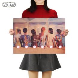 $enCountryForm.capitalKeyWord Australia - TIE LER 6 Beautiful Girls Body Painting Art Poster Kraft Paper Vintage Wall Sticker Bar Cafe Decor 50.5X35cm