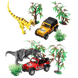 Chinese  wholesale Dinosaur World Small Car Trailer Transporter Model Education Toy Set New Plastic Play Toys For Boys Kids Children gift manufacturers