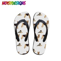 canvas dog shoes UK - NOISYDESIGNS Women Cute Outside Women Female Cute Dog Printed Flip Flops Beach Shoes Sandals Slipper Zapatos de Mujer