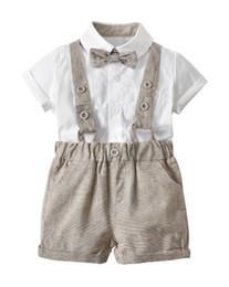 Three Piece Suit Bow Australia - Children's Wear Summer New Infant Boys Gentleman Bow Tie Bib Set White shirt + bow tie + strap shorts three-piece suit