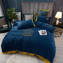 hand embroidered bedding NZ - Dark Blue Color Comfortable Fleece Fabric Quilt Cover Daily Bedding Sets Letter Embroidered Bedding Set 4pcs Bedding Supplies Home Textiles