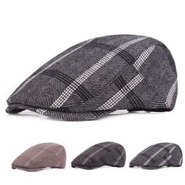 New Mens Plaid Wool Beret Newsboy Hat Cap Duckbill Golf Driving Visor Flat  Cabbie Hats Gentleman Casual Boina Peaked Caps cb84d6e3c2f