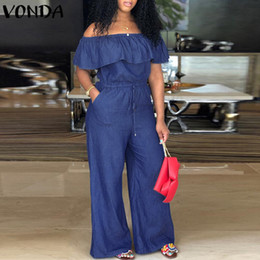 $enCountryForm.capitalKeyWord Australia - Vonda Denim Rompers Womens Jumpsuit 2019 Sexy Slash Neck Off Shoulder Ruffles Playsuit Plus Size Wide Leg Pants Summer Overalls j190723
