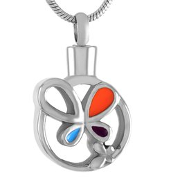 Hollow angel pendants online shopping - IJD9241 Stainless Steel Cremation Silver Pendant Necklace for Ashes Urn Hollow Color Butterfly Round Shape Memorial for Men Women Jewelry