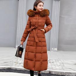 Wholesale plus size long lace coats resale online – Fur Hooded Lace Up Long Cotton Coats Women Casual Solid Thicken Warm Winter Jackets Coats Female Fashion Plus Size Chamarras New
