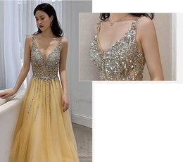 Pictures Berta Prom Dresses Australia - 2019 Sexy Yellow Evening Dresses V Neck Illusion Bodice Sequins Beaded Tulle Split Backless Berta Prom Dress Evening Party Formal Wear Gowns