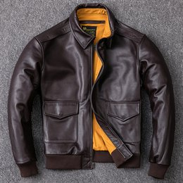 Locomotive genuine Leather coat online shopping - 2019 A2 Pilot Genuine Leather Jacket Men First Layer Cowhide Bomber Jacket Locomotive Motorcycle Biker Leather Coat