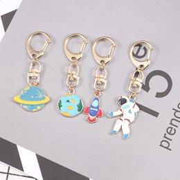 Rocket pendants online shopping - Fashion Blue Planet Rocket Astronaut Star Keychain For Women Men And Child Hanging Sun Cloud Pendant Key Jewelry Gifts