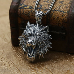 wolf head necklaces 2021 - New Unique Punk 316L Stainless Steel Men's Wolf Head Pendant Animal Necklace Fashion Rock Party Necklace Hip Hop Jewelry Gift