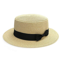 $enCountryForm.capitalKeyWord Australia - 2019 Parent-child Summer Hat Beach Straw Hat Panama Ladies Cap Girls Handmade Casual Flat Brim Bowknot Sun Hats for Women Black