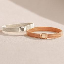 18k chain bracelet men online shopping - NEW K Rose gold watch strap Men Women Hand Chain Reflexions Bracelet Set Original Box for Pandora Sterling Silver Bracelets