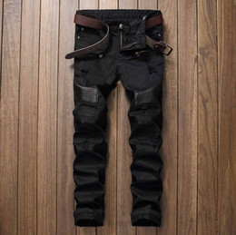 Mens Skinny Black Leather Pants NZ - Fashion Mens Ripped Biker Jeans Leather Patchwork Slim Fit Black Moto Denim Joggers For Male Distressed Jeans Pants