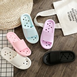 plastic slippers sandals Australia - 2019 Summer Couple Indoor Non-slip Korean Version Of The Cute Soft Bottom Plastic Breathable Fashion Hole Sandals And Slippers
