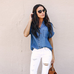 3dbe45c96ed Tops Streetwear Women Casual Soft Denim Shirt Tops Blue Jean Button Short  Sleeve Blouse Jacket Blouse Women Roupa Feminina
