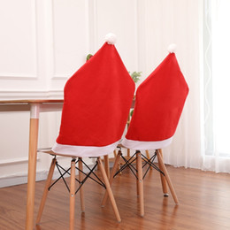 $enCountryForm.capitalKeyWord UK - Santa Claus Christmas Chairs Cover Cap Non-woven Dinner Table Red Hat Chair Back Covers Xmas Christmas Decorations For home SH190916