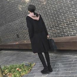 $enCountryForm.capitalKeyWord Australia - Pop Women Turn-down Collar Black Outerwear Autumn Winter Long Sleeve Loose Overcoat Solid Casual Open Stitch Long Coat