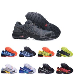 Discount cross running shoes - Free Shipping running shoes Speedcross 4s black white red men Sneakers Outdoor Waterproof Cross-country Shoes Athletic S