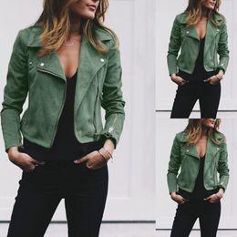 Small collar SuitS online shopping - Autumn Winter New Women s Coat Lapel Suit Collar PU Leather Jacket Slant Zipper and Short Women s Top