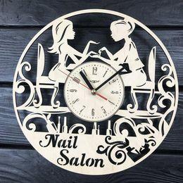 $enCountryForm.capitalKeyWord Australia - Manicure Wall Clock Unique Wood Kids Room Decor Nail Salon Gifts Wall Art Kitchen Present Christmas Anniversary Birthday Manicure Clock