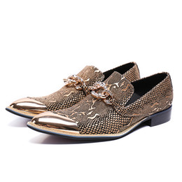 animal handmade UK - Luxury Designer Genuine Leather Man Handmade Loafers Pointed Toe Slip on Python-Patterned Men's Banquet Shoes