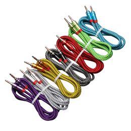 Mm Audio Australia - Audio Jack 3.5 mm Male to Male 1m leather weaving audio line Audio Aux Cable For iPhone Car Headphone Speaker Wire Line Aux Cord 100pcs